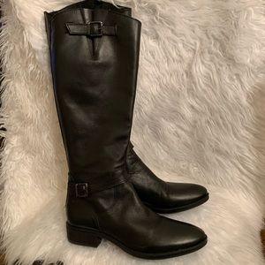 Sam Edelman Painter Black Leather Tall Boots 9.5